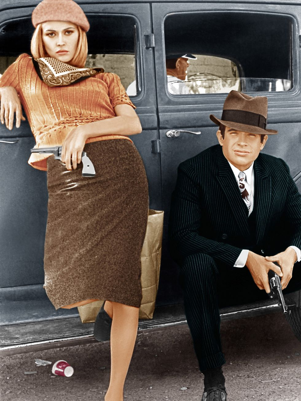 Bonnie Parker (Faye Dunaway) and Clyde Barrow (Warren Beatty), scene from 'Bonnie and Clyde', 1967