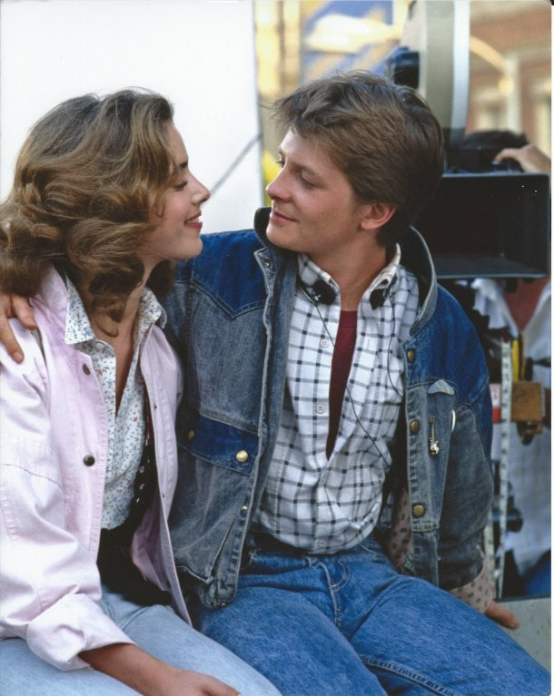 Marty Mcfly (Michael J. Fox) and Jennifer Parker (Claudia Wells), scene from 'Back to the Future', 1985
