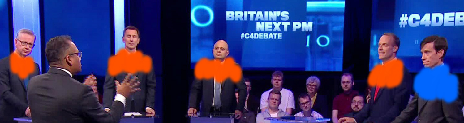 Rory Stewart (right): 'Fundamental issue here is that there's a competition of machismo'. <br>British Conservative party leadership debate, June 2019