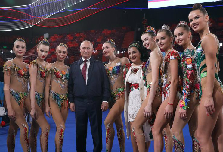 Vladimir Putin and Russian gymnasts, 2019, Moscow, Russia
