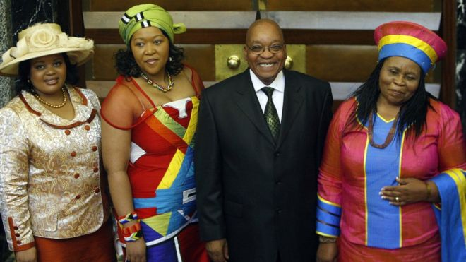 Jacob Zuma, the president of South Africa (2009-18) with his three wives, 2009