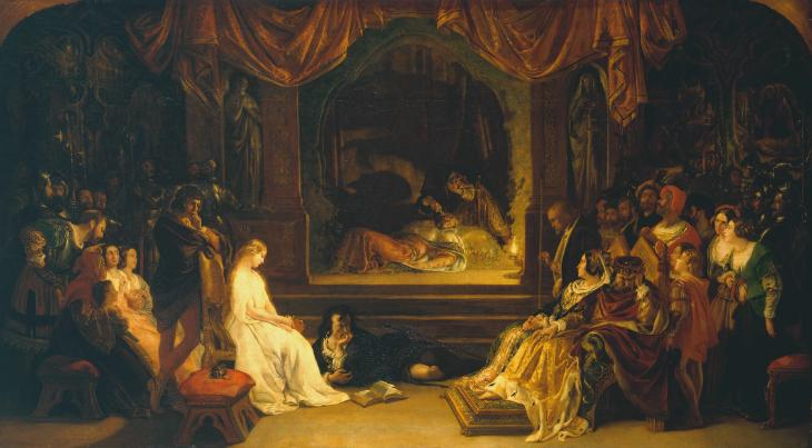 The Play Scene in 'Hamlet', Daniel Maclise, exhibited 1842