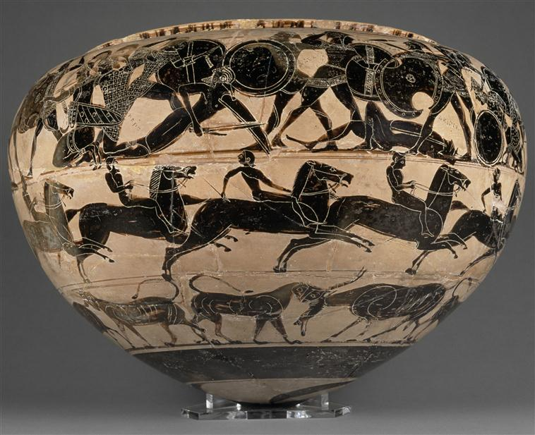 Dinos with the depiction of horse races and Amazonomachy,6th century BC, Attic