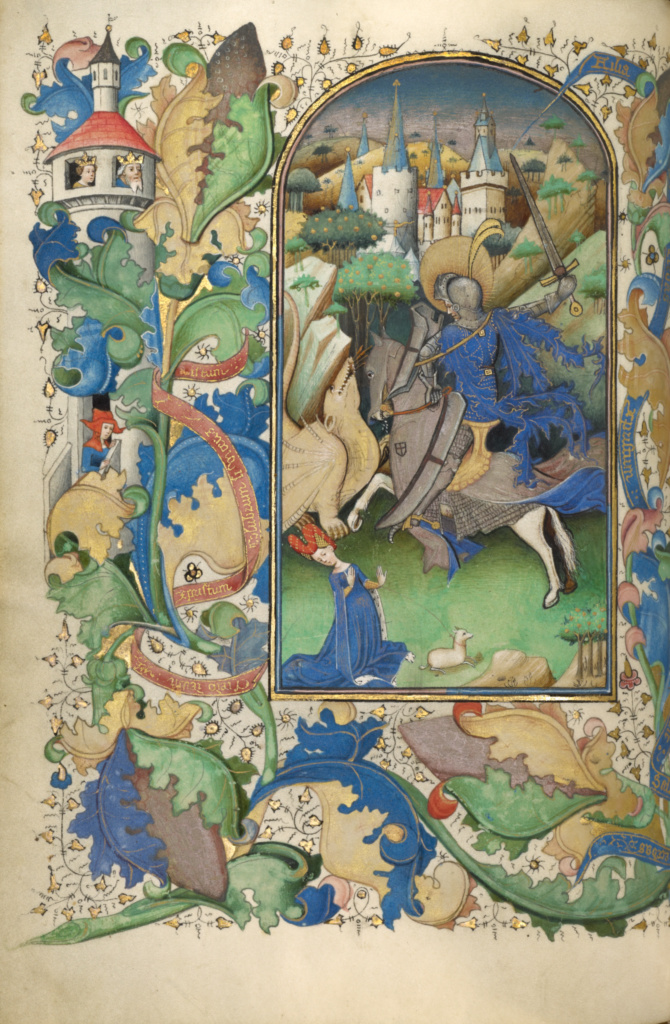 Saint George and the Dragon, accompanying a prayer to Saint George, cr. 1450–55, Ghent (?), Belgium