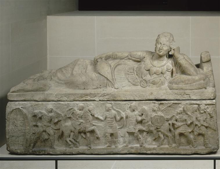Sarcophagus of a woman with horsemen and foot soldiers in combat, cr. end of 2nd century BC, Italian/Etruscan