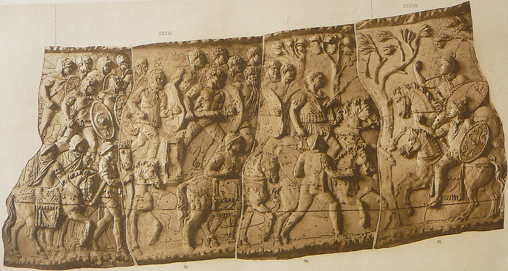 Forced march of light troops (Scene XXXVI); Cavalry battle against Sarmatians (Scene XXXVII); Trajan's Column, 113 AD, Rome