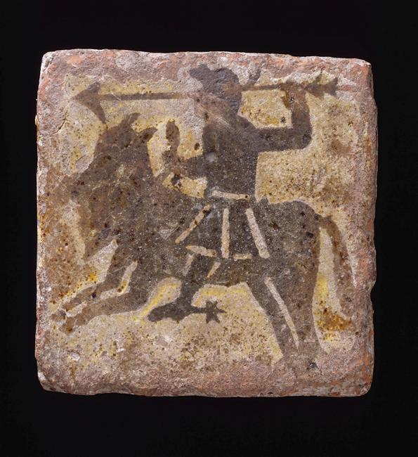 Inlaid tile showing a horseman brandishing a spear, 15th century, Burgundy, France