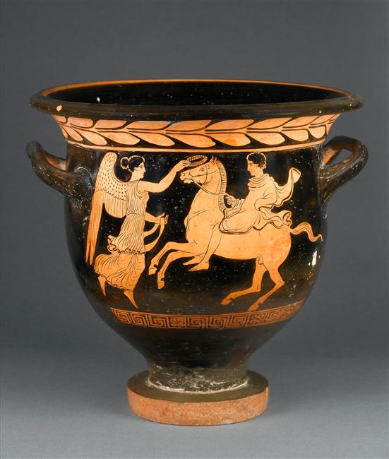 Bell-krater showing a horseman crowned by Nike,cr. 420 BC, Attic