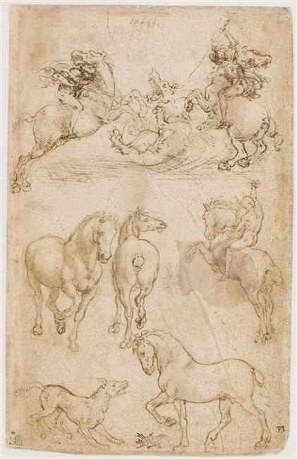 Studies of the horses and horsemen, 781DR recto,cr. 1480, Leonardo da Vinci