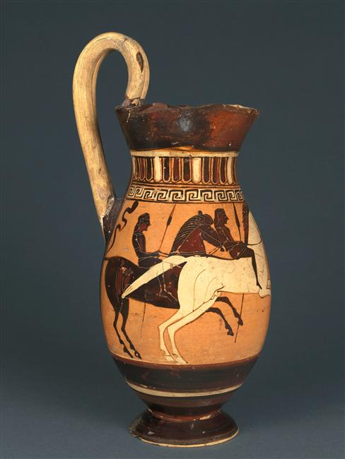 Olpe with the depiction of two horsemen,cr. 575-550 BC, Corinthian