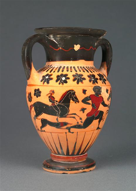 Amphora with horse riders, a man, a snake and two roosters,cr. 560-540 BC, Reggio di Calabria