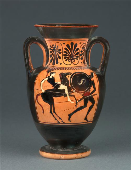 Neck-amphora with the depiction of combat on an Amazone and a hoplite,cr. 500-490 BC, Attica