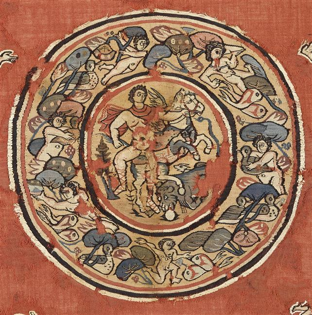 Hanging known as Sabine's shawl depicting Bellerophon trampling Chimera, 4th-5th century, Coptic