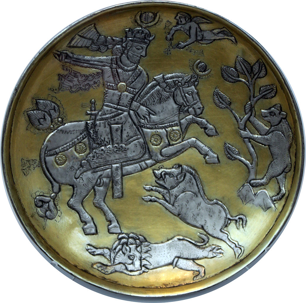 Dish showing a king hunting, 6th-8th century