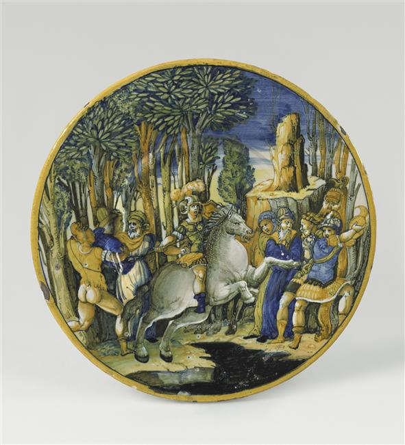 Maiolica plate showing Marcus Curtius leaping into the abyss, 1545, Urbino