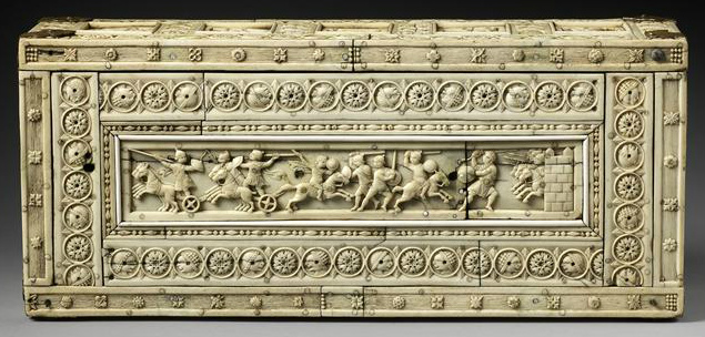 Ivory chest with mythological and combat scenes, 10th-11th century