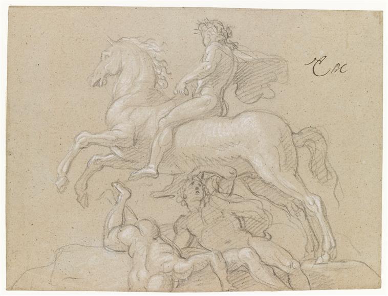 Louis XIV on horseback,cr. 1668, Charles Le Brun, France