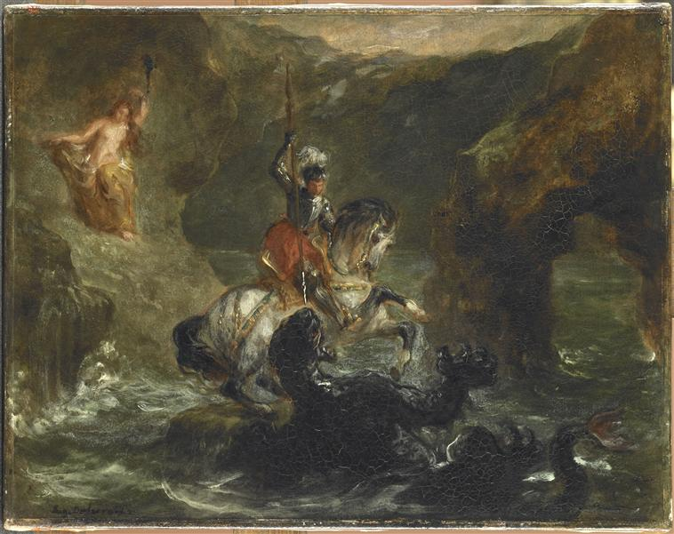 Saint George Fighting the Dragon, 1847, Delacroix Eugène, France