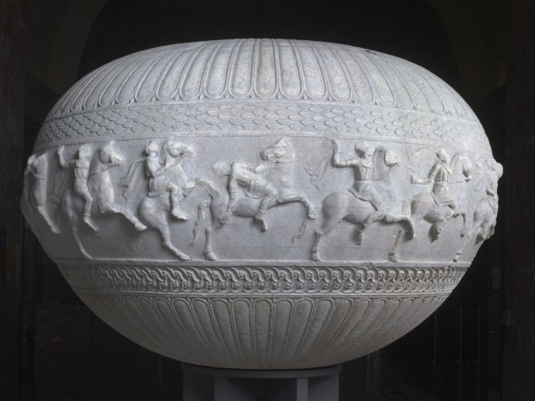 Pergamon vase, a marble dinos with a depiction of 15 horsemen, 2nd century BC, Bergama, Turkey