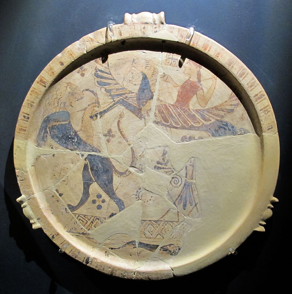 Plate with a depiction of Chimera and Bellerophon on Pegasus, cr. 650 BC, Thasos, Ancient Greece
