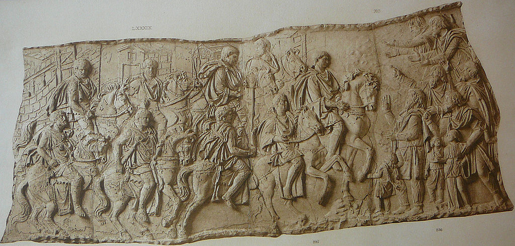 Forced march of Trajan on horseback (Scene LXXXIX); Trajan is greeted by some barbarians (Scene XC); Trajan's Column, 113 AD, Rome