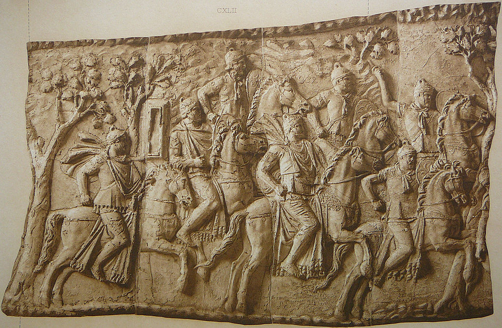Roman cavalry in the mountains (Scene CXLII); Fight between pursuers and pursued (Scene CXLIII); Trajan's Column, 113 AD, Rome