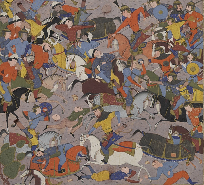 Giv Charges into Battle against Piran, illustration of the Book of Kings by Ferdawsi, cr. 1589–90, Shiraz, Persia