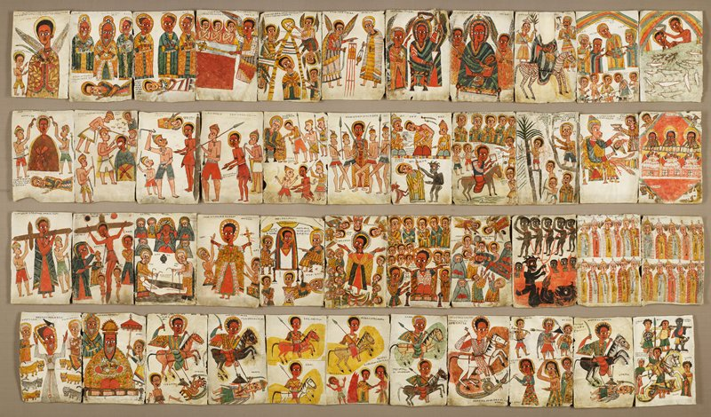 Ensemble of 44 leaves featuring Ethiopian saints and scenes from the Hebrew Scriptures and New Testament including 9 saints on rearing horses, painting on parchment,late 17th century