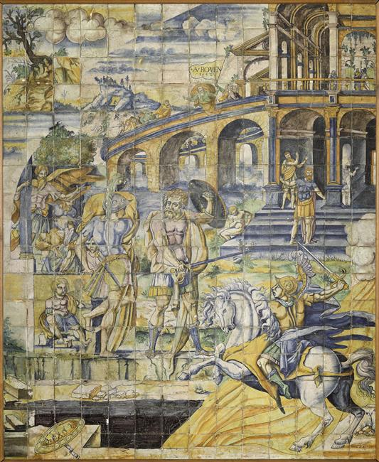 Earthenware tiles showing Marcus Curtius leaping into the abyss, 1542, Abaquesne Masséot, France