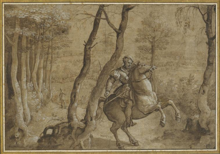 Rider on a rearing horse, in a wooded area, 16th century, after Bernard van Orley, Brussels, Flanders