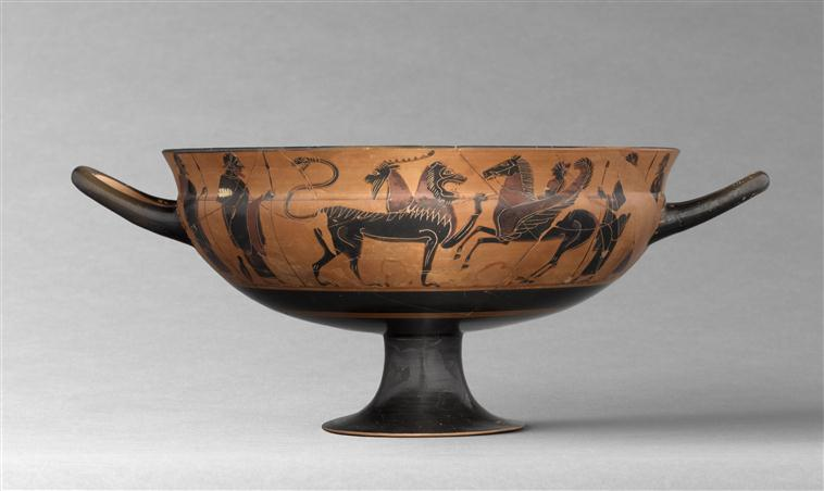 Cup with Bellerophon riding Pegasus and attacking the Chimaera, 2nd quarter of the 6th century BC, Attic, Ancient Greece