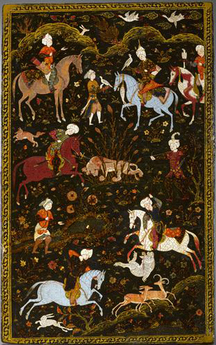 Book cover showing courtly hunting scene, cr. 1560-88, Khorasan, Persia
