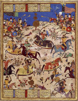 Battle between Manuchehre and Turanians, illustration of the Book of Kings by Ferdawsi, cr. 1567, Shiraz, Persia