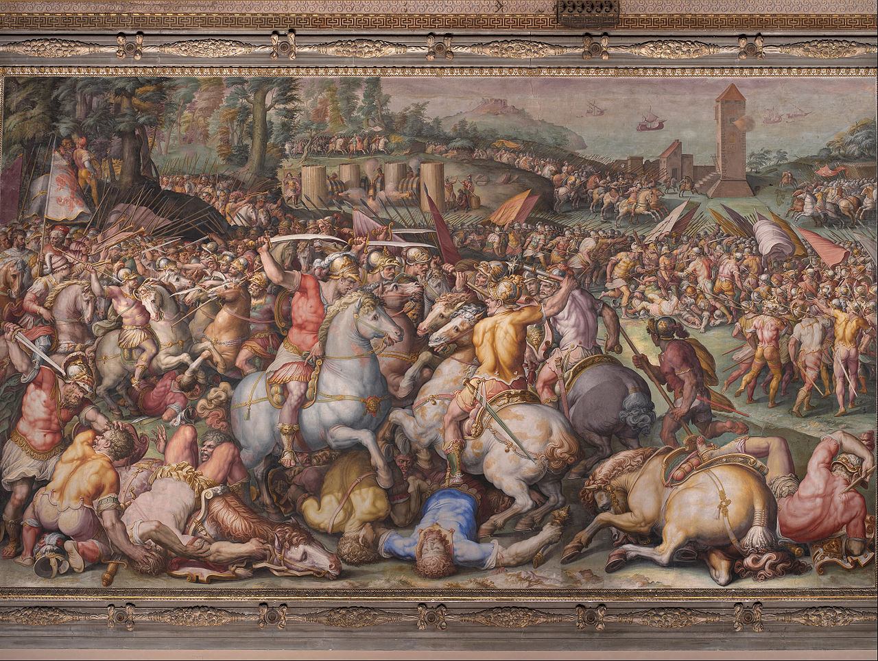 Defeat of the Pisans at the Tower of San Vincenzo,1568-71, Giorgio Vasari, Palazzo Vecchio, Florence