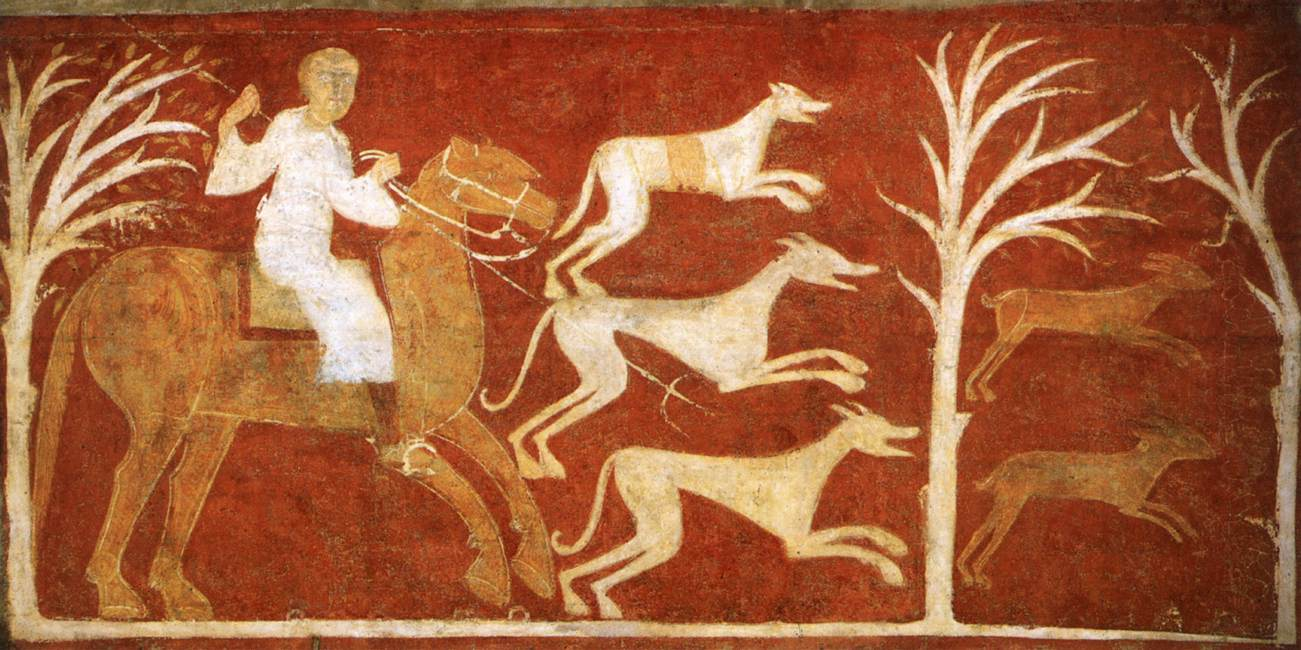 Hunt of the Hare, fresco painting on mural transferred to canvas, cr. 1125, Hermitage of San Baudelio, Casillas de Berlanga, Soria, Spain