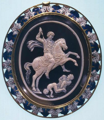 A cameo with a horseman trampling his enemies, 3rd century (cameo) and 16th century (mount), Ancient Rome and Italy