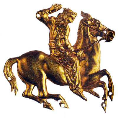 Greco-Scythian gold horseman appliqué, (?) cr. 4th century BC