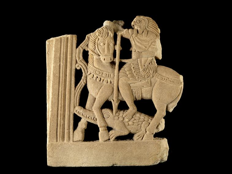 COMPARANDUM: Horus the Horseman (part of window decoration), 4th century, Coptic