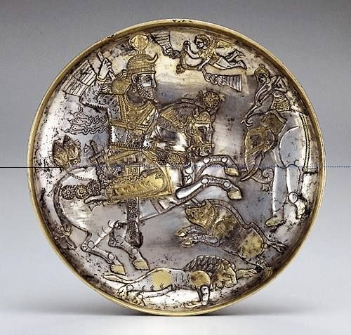 Plate with a King Hunting Animals,7th century
