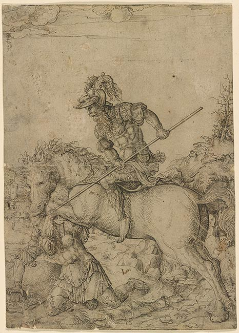 Artybios on Horseback Attacking Onesilus, 1510-1547, Jörg Breu the Younger, Augsburg, Germany