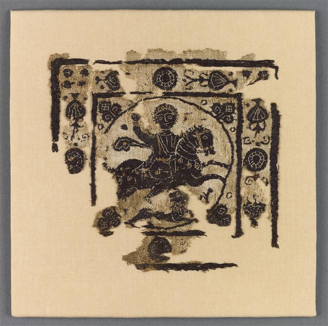 Textile fragment depicting a horseman, 5th-6th century, Coptic