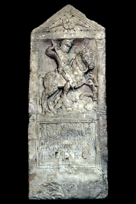 Tombstone of the cavalryman Genialis, cr. 60 AD, discovered in Corinium, UK