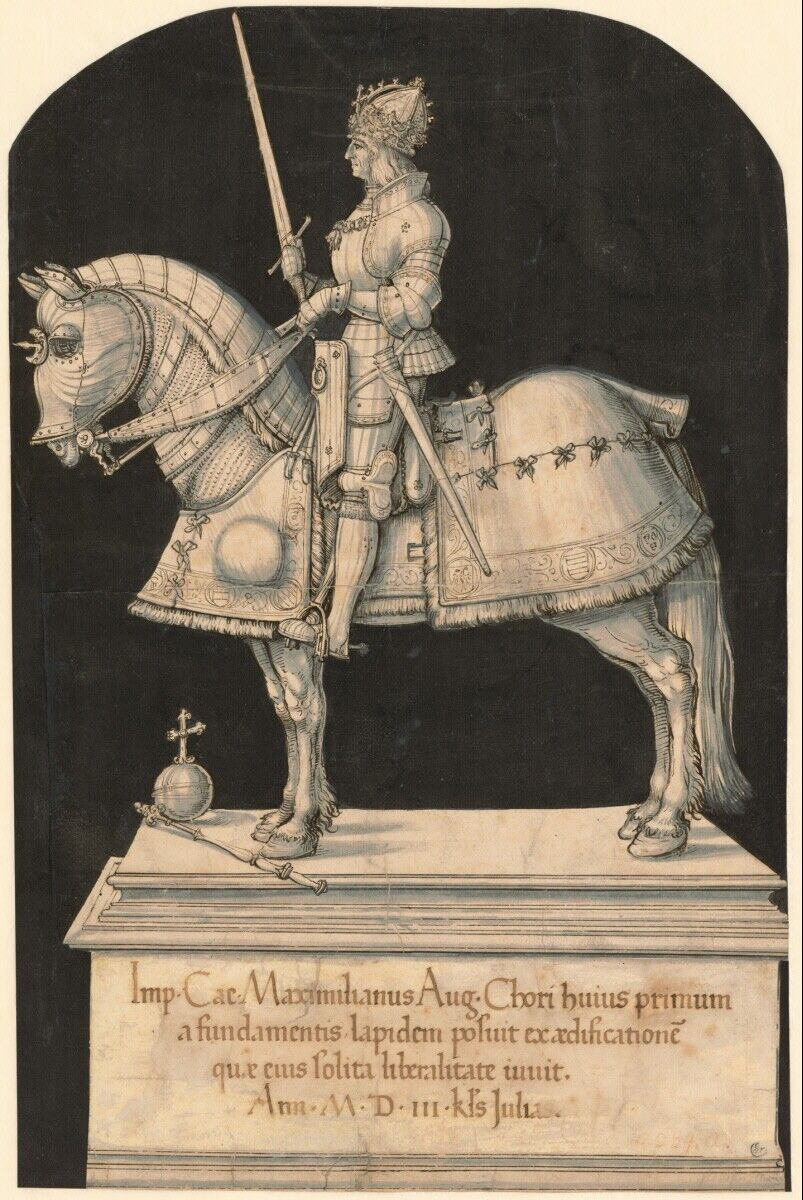 Project for an equestrian statue for Emperor Maximilian I, 1509-10, Hans Burgkmair, Vienna, Holy Roman Empire