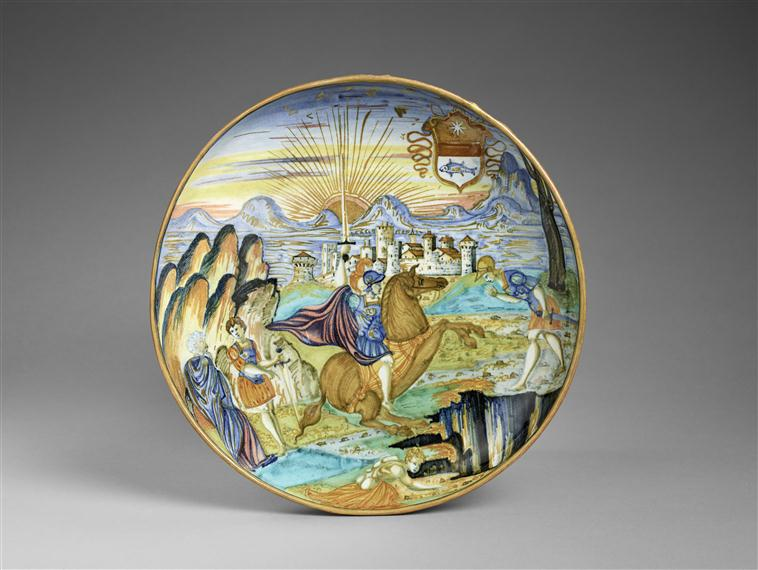 Maiolica plate showing Marcus Curtius leaping into the abyss, 1538, Urbino