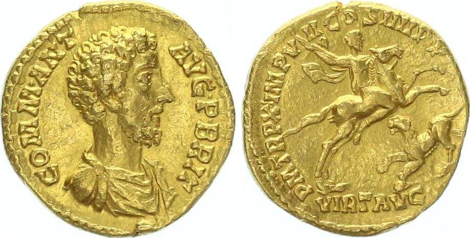 Aureus showing Commodus on horseback spearing a panther on reverse, minted in 184-5 under Commodus, Roman empire