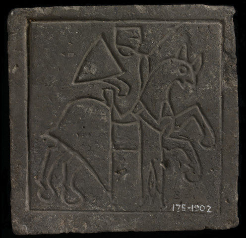 Impressed floor tile showing a knight on horsebacke, cr. 1250-75, Germany
