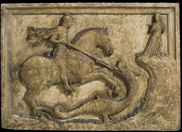 Saint George and the Dragon with two armorial reliefs, cr. 1500, Venice