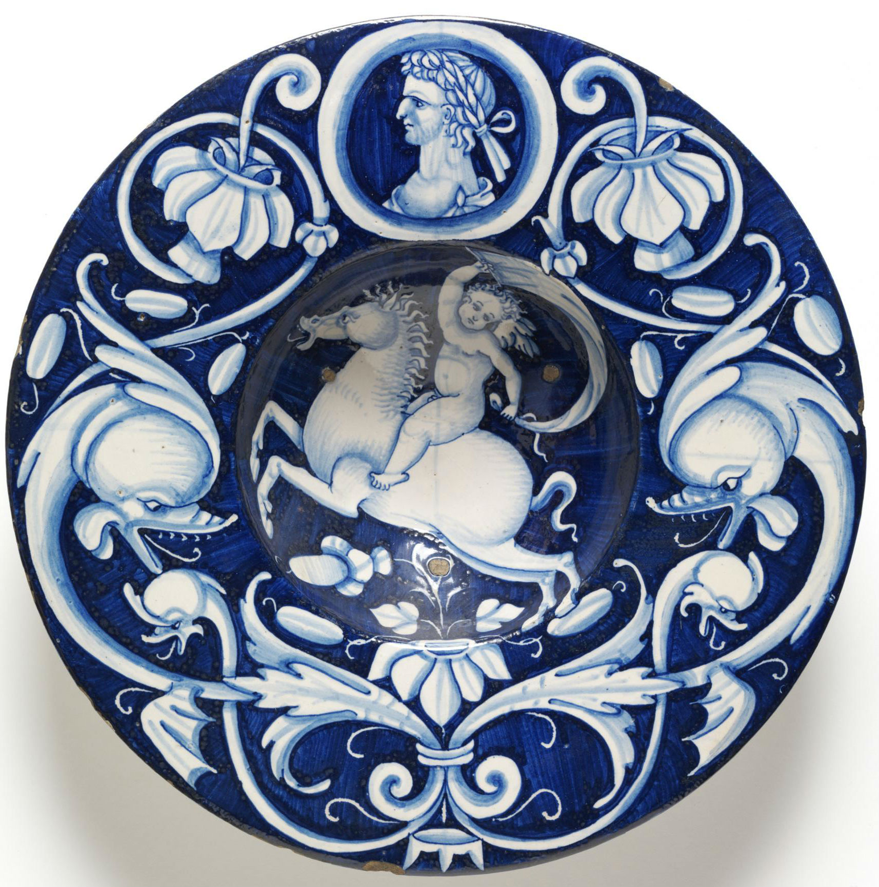 Bowl with a naked boy holding a sail on a galloping horse, 1520-30, possibly Nicola Francioli, Deruta