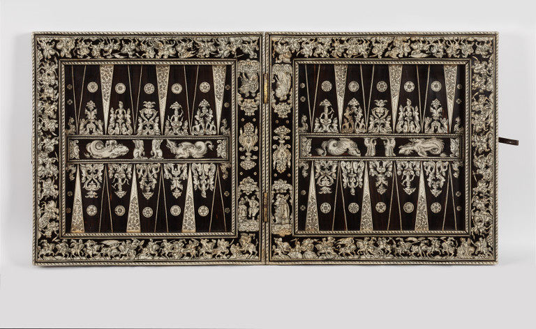 Backgammon board decorated with ebony and carved bone, 1581-1600, probably Augsburg, Germany