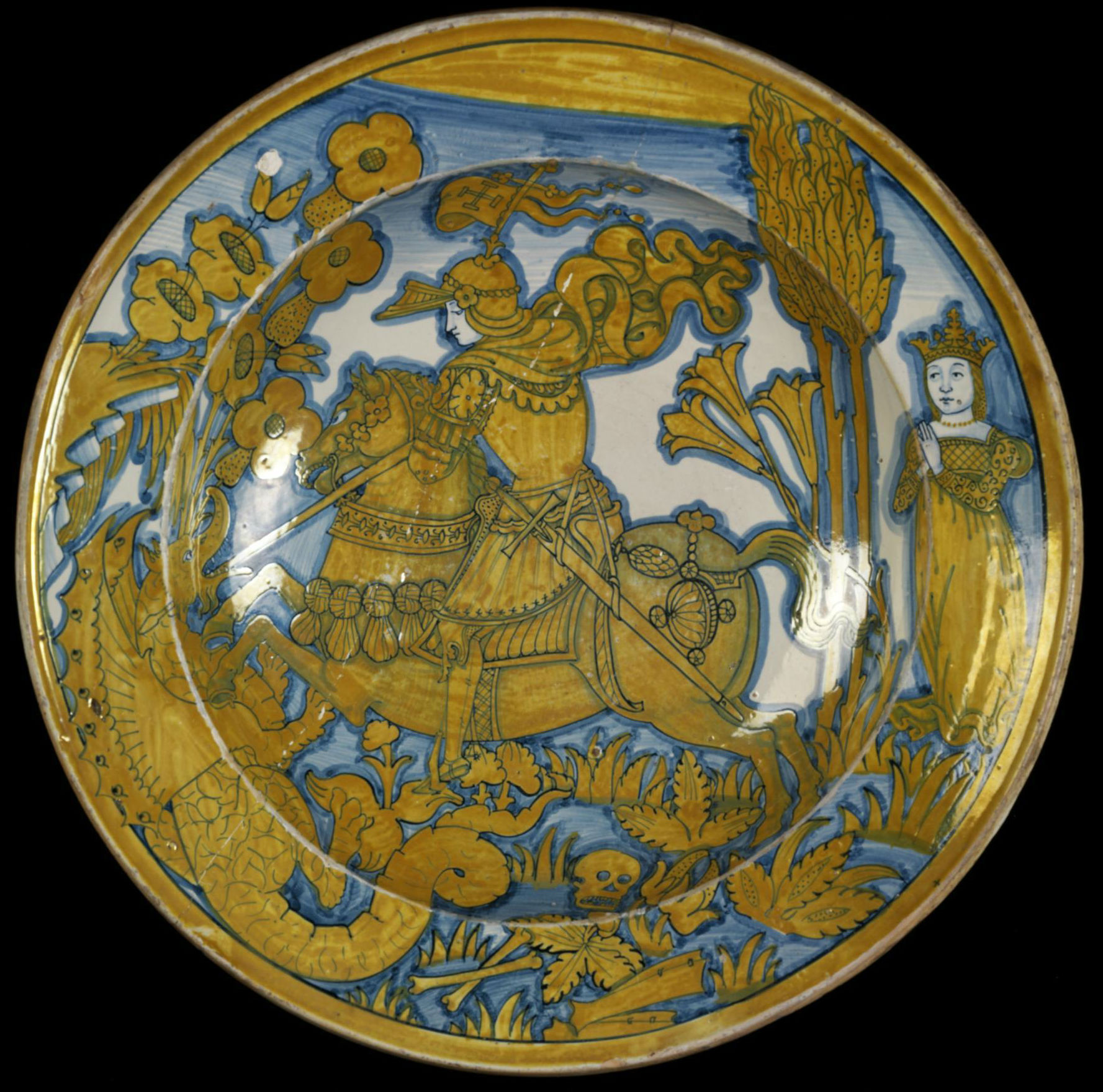 Dish depicting Saint George and the Dragon, 1530-40, unknown, Deruta